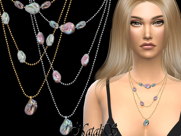 Sims 4 Mother of pearl layered necklace by NataliS at TSR