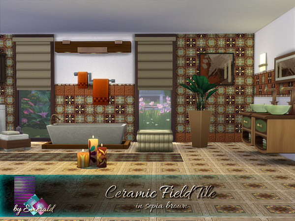 Sims 4 Ceramic Field Tile in sepia brown by emerald at TSR