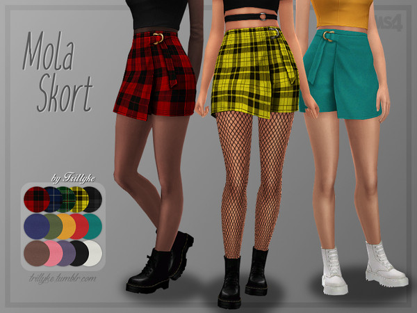Sims 4 Mola shorter and more high waisted skirt by Trillyke at TSR