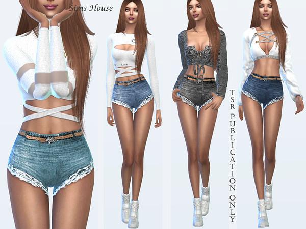 Sims 4 Tropics womens denim shorts by Sims House at TSR