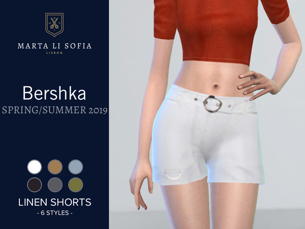 Sims 4 Linen Safari Shorts by martalisofia at TSR