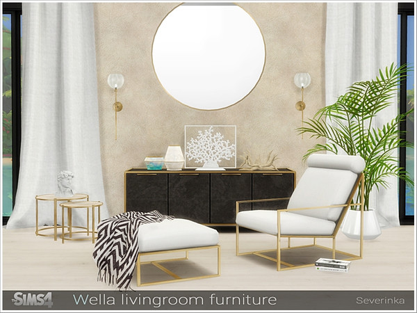 Sims 4 Wella livingroom furniture by Severinka at TSR