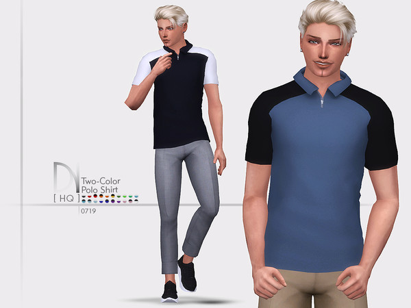 Sims 4 Two Color Polo Shirt by DarkNighTt at TSR