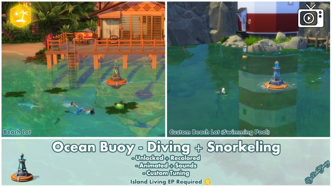 Sims 4 Ocean Buoy Diving & Snorkeling by Bakie at Mod The Sims