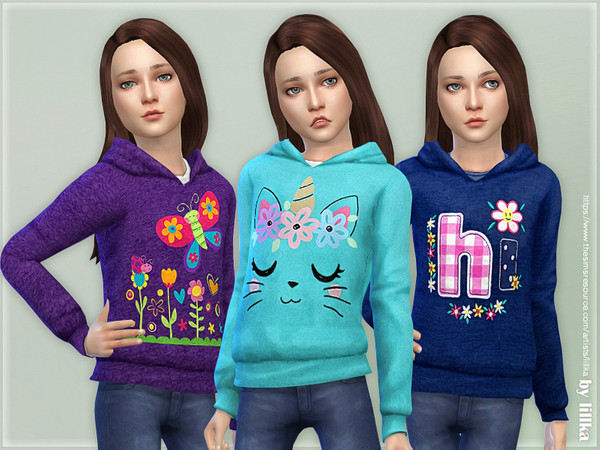 Hoodie for Girls P09 by lillka at TSR image 7313 Sims 4 Updates