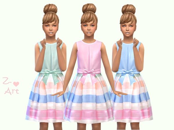 Sims 4 GirlZ 19 satin dress by Zuckerschnute20 at TSR
