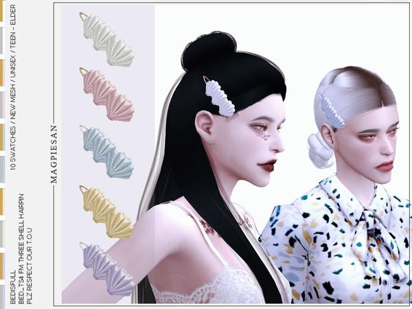 Three shell hairpin by magpiesan at TSR image 780 Sims 4 Updates