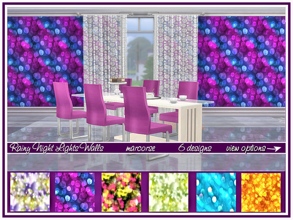 Rainy Night Lights Walls by marcorse at TSR image 814 Sims 4 Updates