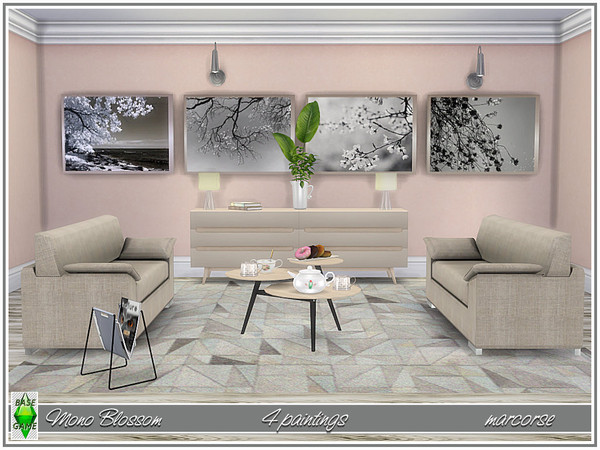 Mono Blossom paintings by marcorse at TSR image 8219 Sims 4 Updates