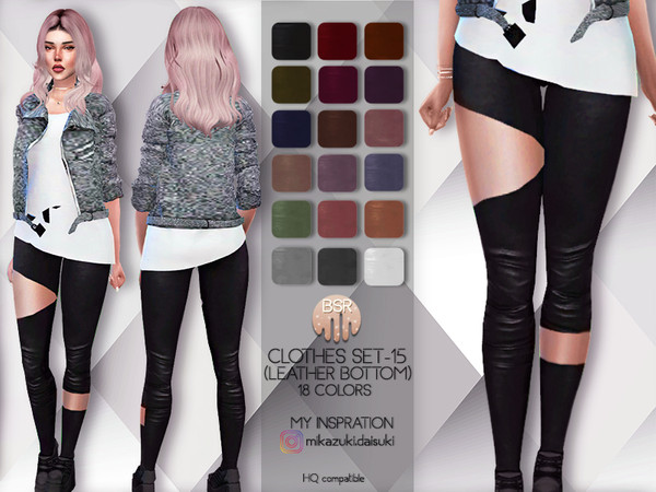 Sims 4 Clothes SET 15 LEATHER BOTTOM BD71 by busra tr at TSR