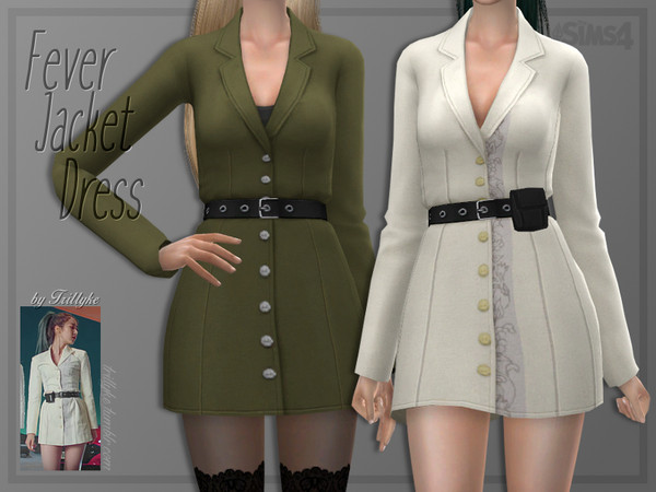Sims 4 Fever Jacket Dress by Trillyke at TSR