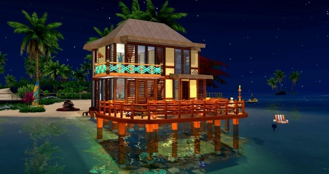 Sims 4 Above water house by Coco Simy at L'UniverSims