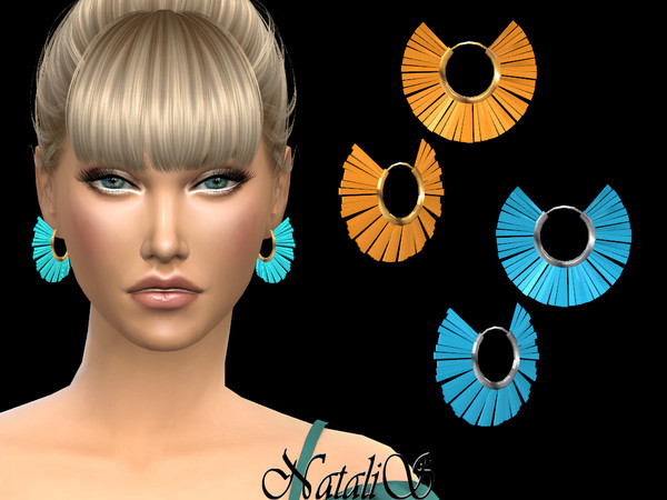 Sims 4 Colorful tassel hoop earrings by NataliS at TSR