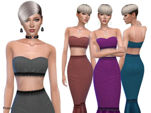 Sims 4 Ladies Haltered Dress by pizazz at TSR