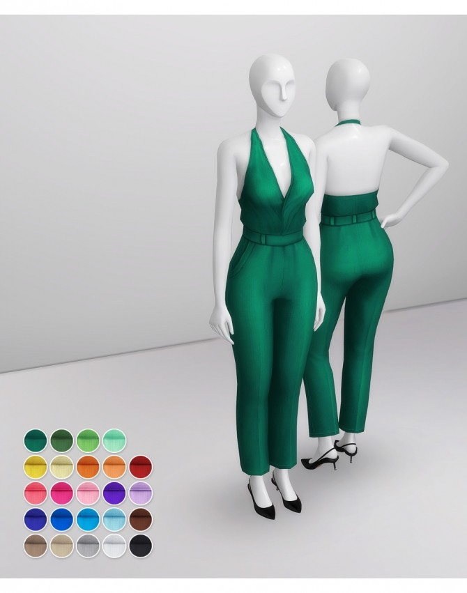 Halterneck Jumpsuit SS19 at Rusty Nail image 9214 670x851 Sims 4 Updates