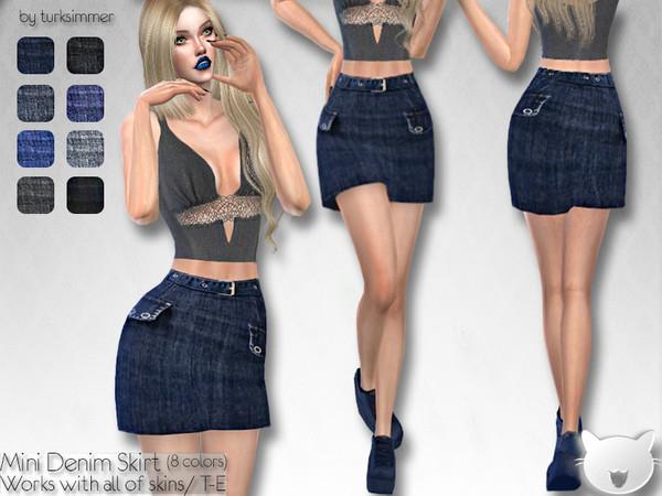 Sims 4 Mini Denim Skirt by turksimmer at TSR