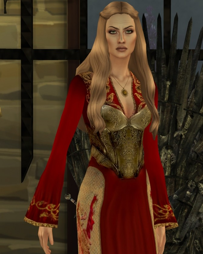 Game Of Thrones Cersei Lannister Red And Gold Corset Dress By Him666 At Mod The Sims Sims 4 Updates