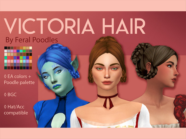 Sims 4 Victoria Hair by feralpoodles at TSR