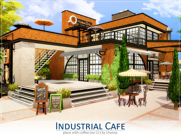Sims 4 Industrial Cafe by Lhonna at TSR