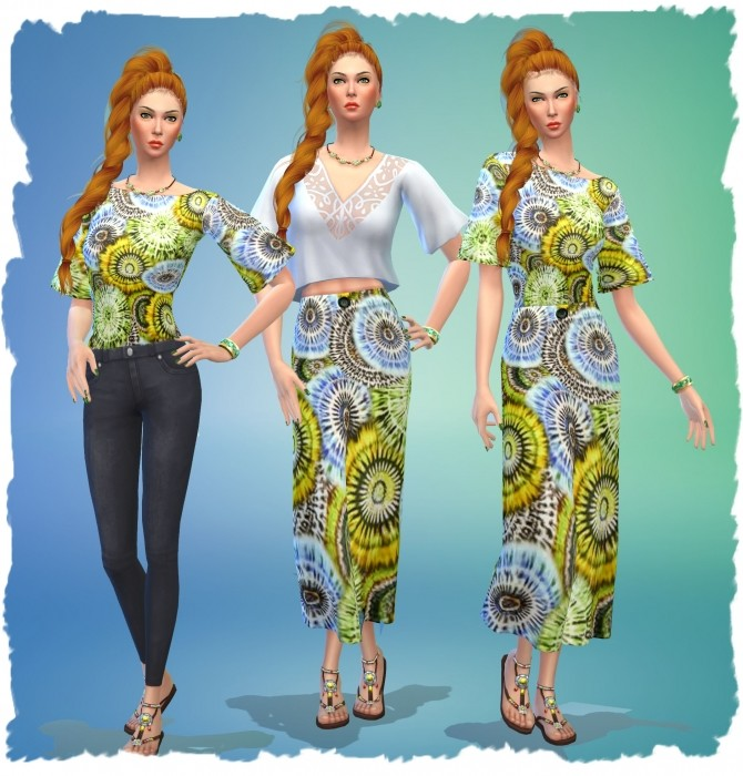 Sims 4 Skirt and Top by Chalipo at All 4 Sims