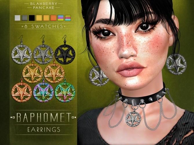 Sims 4 Baphomet earrings & choker at Blahberry Pancake