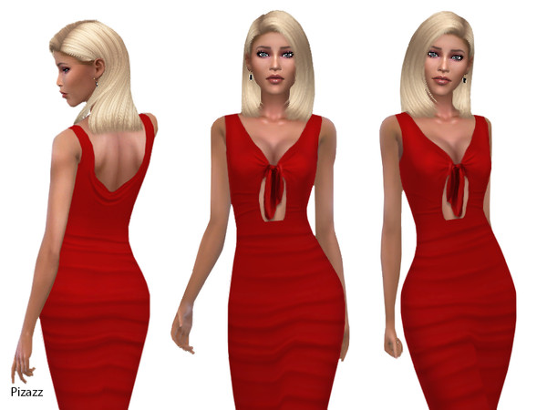 Sims 4 Front Tied Midi Dress by pizazz at TSR