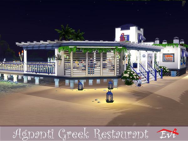 Sims 4 Agnati Greek Restaurant by evi at TSR
