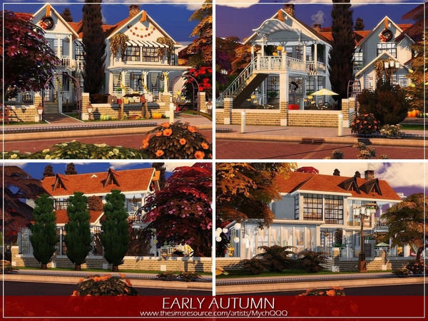 Sims 4 Early Autumn house by MychQQQ at TSR