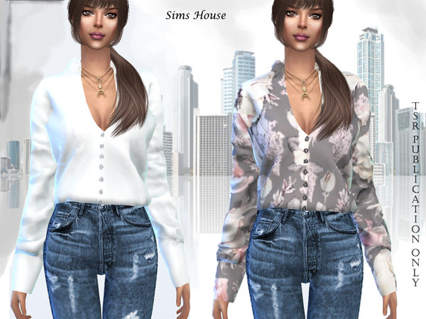 Womens blouse with print and long sleeve by Sims House at TSR image 11211 Sims 4 Updates
