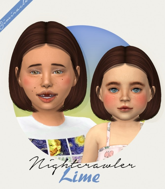 Sims 4 Nightcrawler Lime hair for kids and toddlers at Simiracle