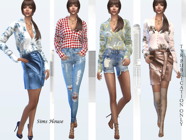 Womens blouse with print and long sleeve by Sims House at TSR image 11311 Sims 4 Updates
