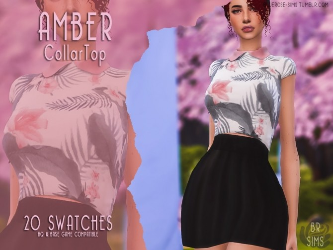 Sims 4 Amber Collar Top at BlueRose Sims