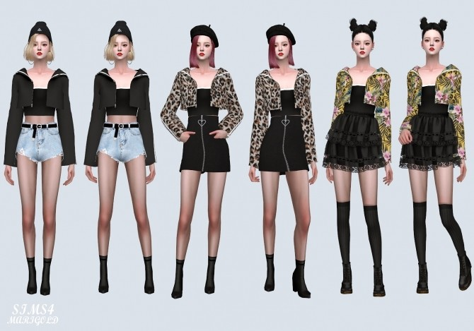 Sims 4 Line Hood Jacket With Crop Top (P) at Marigold