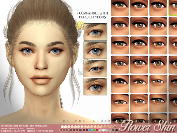 Sims 4 Flower Skin Overlay FEMALE by Pralinesims at TSR
