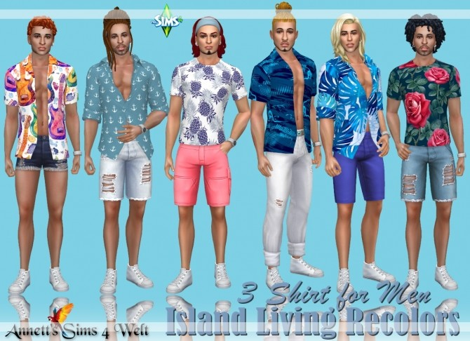 Sims 4 Island Living 3 Shirts for Men Recolors at Annett's Sims 4 Welt