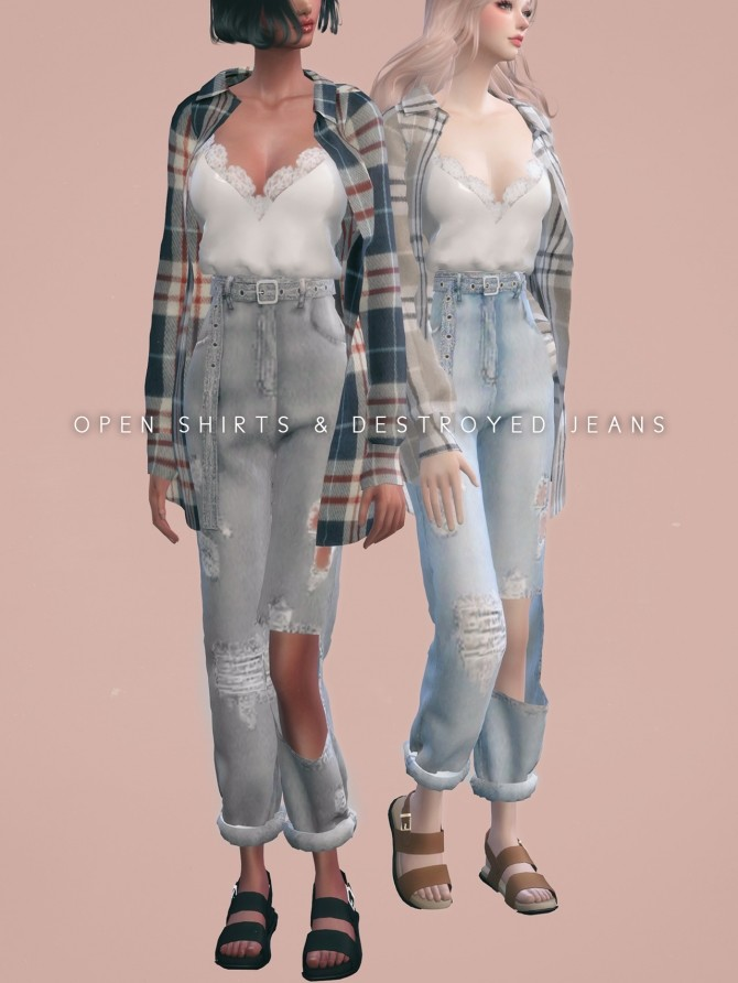 Sims 4 Open Oversized Shirts + Belt Destroyed Jeans at NEWEN