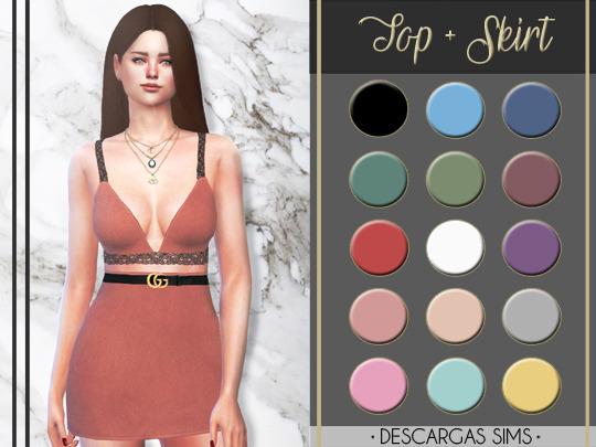Sims 4 Top + Skirt at Descargas Sims