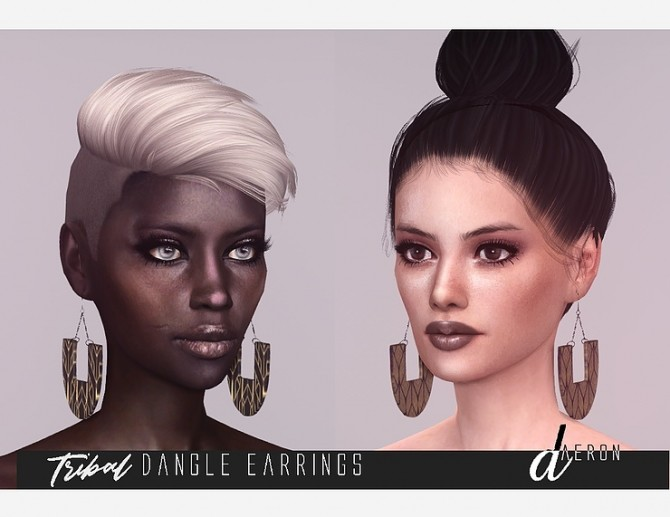 Tribal Dangle Earrings by daer0n at Blooming Rosy image 1295 670x517 Sims 4 Updates