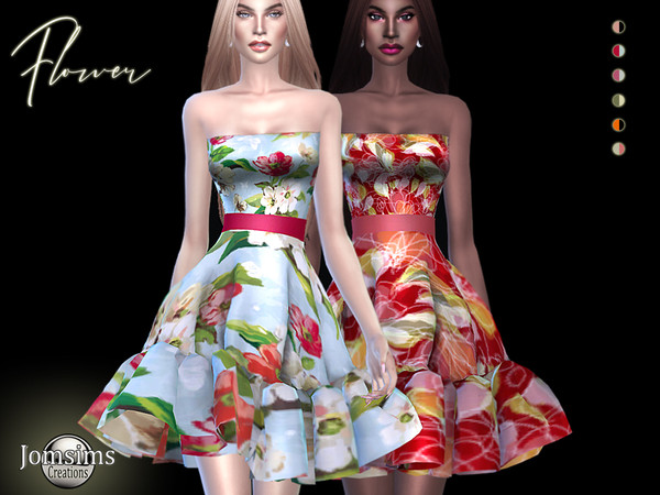 Flower dress by jomsims at TSR image 1320 Sims 4 Updates