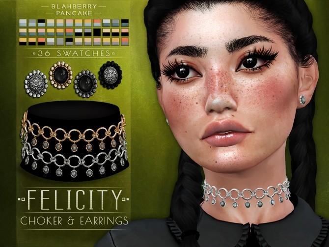 Sims 4 Felicity choker & earrings at Blahberry Pancake