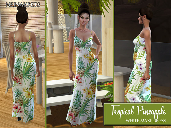 Sims 4 Tropical Pineapple Maxi Dress by neinahpets at TSR