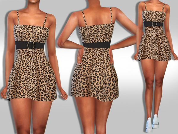 Sims 4 Super Mini Trendy Leopard Dress by Saliwa at TSR