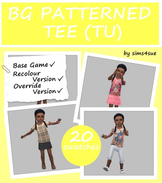 Sims 4 BASE GAME PATTERNED TEE TU at Sims4Sue