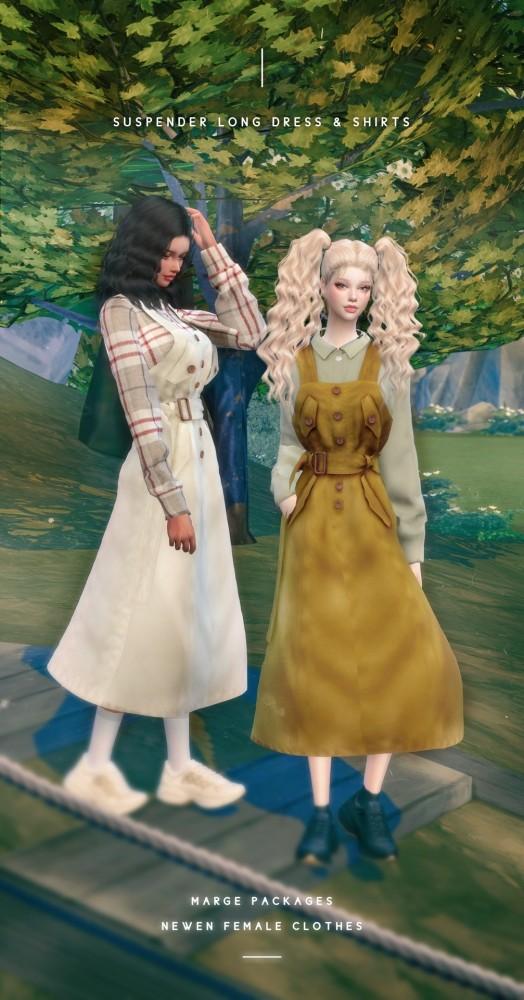 Sims 4 Suspender Long Dress at NEWEN