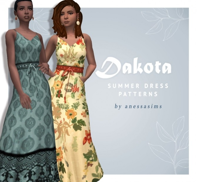 Sims 4 Dakota summer dress patterns at Anessa Sims