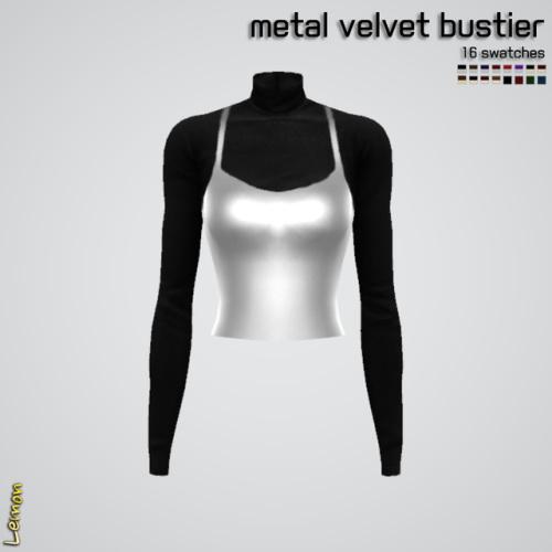 Sims 4 Metal velvet bustier at Lemon Sims 4
