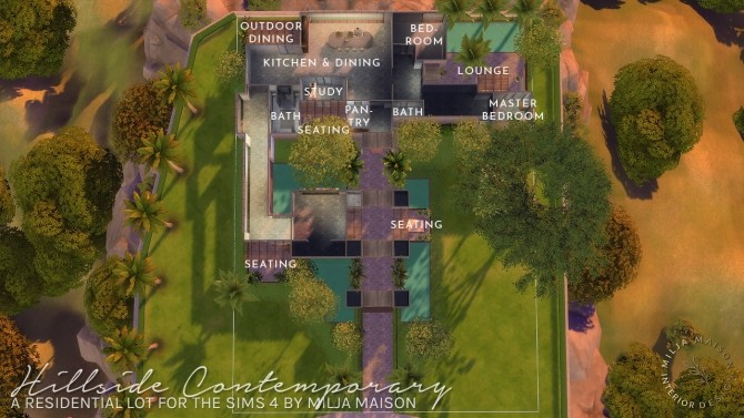 Hillside Contemporary House At Milja Maison Sims 4 Updates