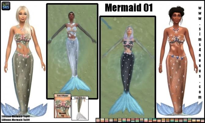 Sims 4 Mermaid 01 top & tail by SamanthaGump at Sims 4 Nexus
