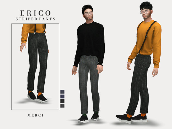 Sims 4 Erico Striped Pants by Merci at TSR