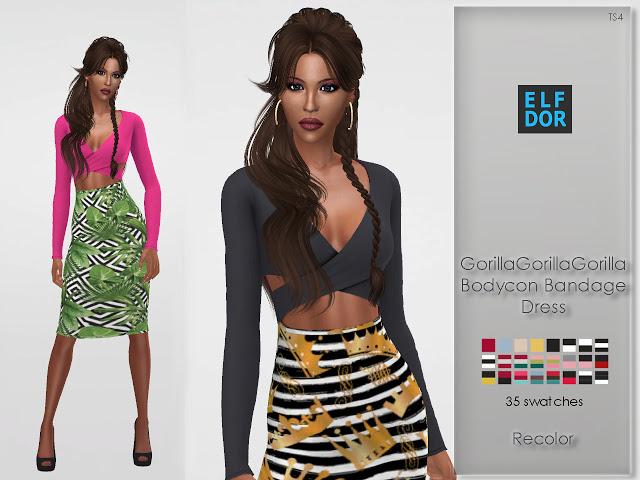Sims 4 Gorillax3 Bodycon Bandage Dress RC at Elfdor Sims